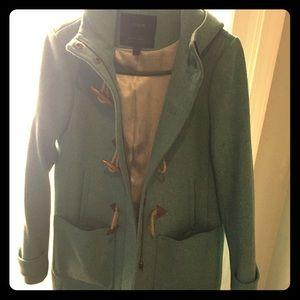 Jcrew melton wool coat green hooded 6 n